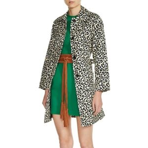 Maje Leopard Print Belted Trench Coat